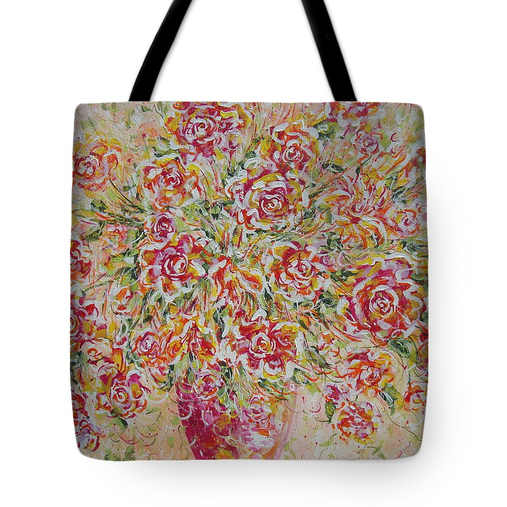 Flowers. Floral Tote Bag featuring the painting First Love Flowers by Natalie Holland