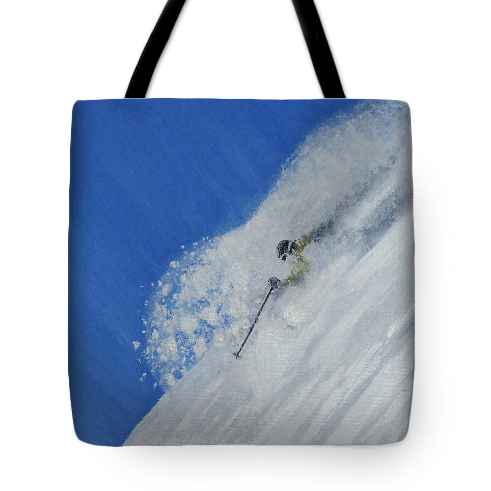 Ski Tote Bag featuring the painting First by Michael Cuozzo