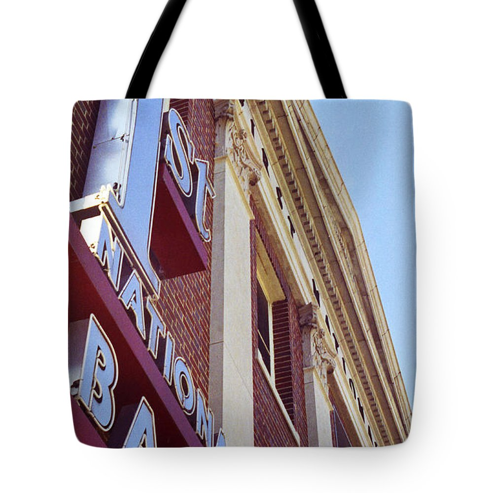 First National Bank Tote Bag featuring the photograph First National Bank by Lonnie Paulson