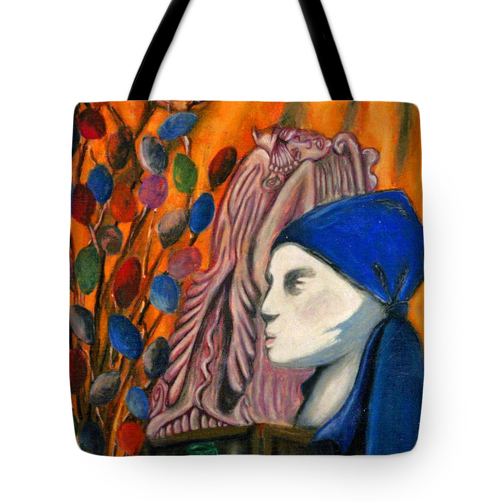 Mannequin Tote Bag featuring the pastel First Oil Pastel by Jean Haynes