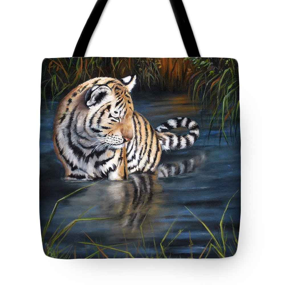 Tiger Cub Tote Bag featuring the painting First Reflection by Mary McCullah