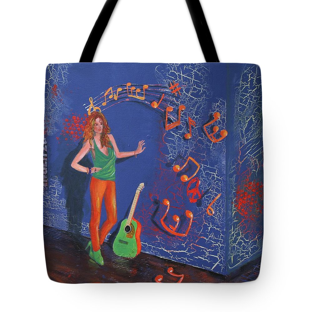 Purple Tote Bag featuring the painting First Release by Almeta LENNON