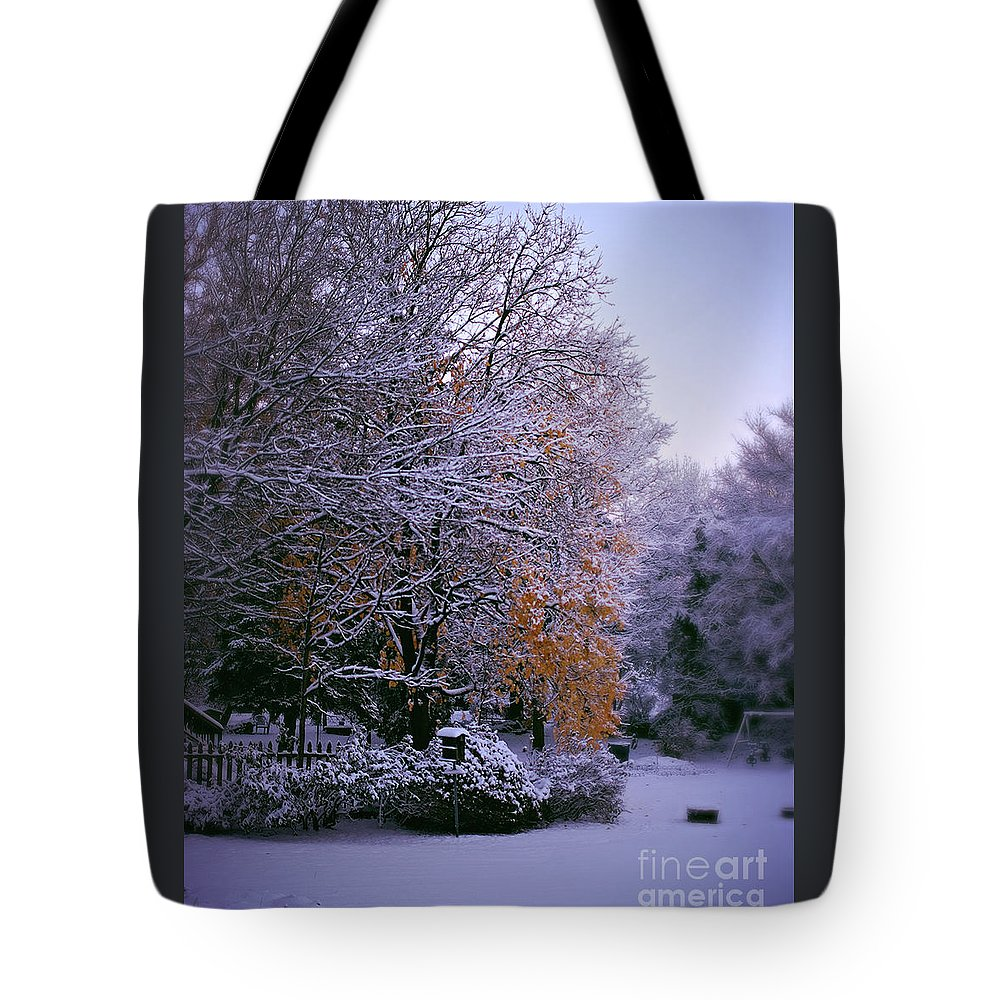 Gold Leaves Tote Bag featuring the photograph First Snow After Autumn by Frank J Casella