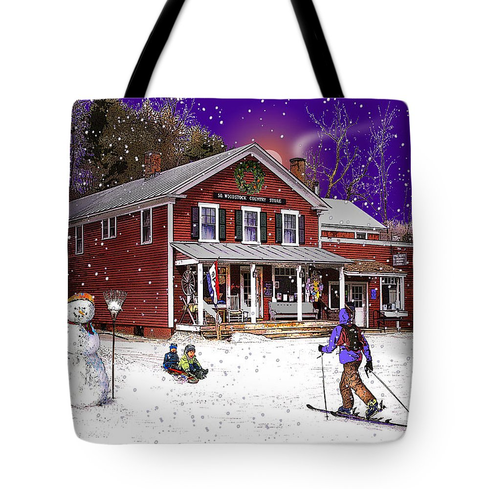 North Country Tote Bag featuring the photograph First Snow At The South Woodstock Country Store by Nancy Griswold