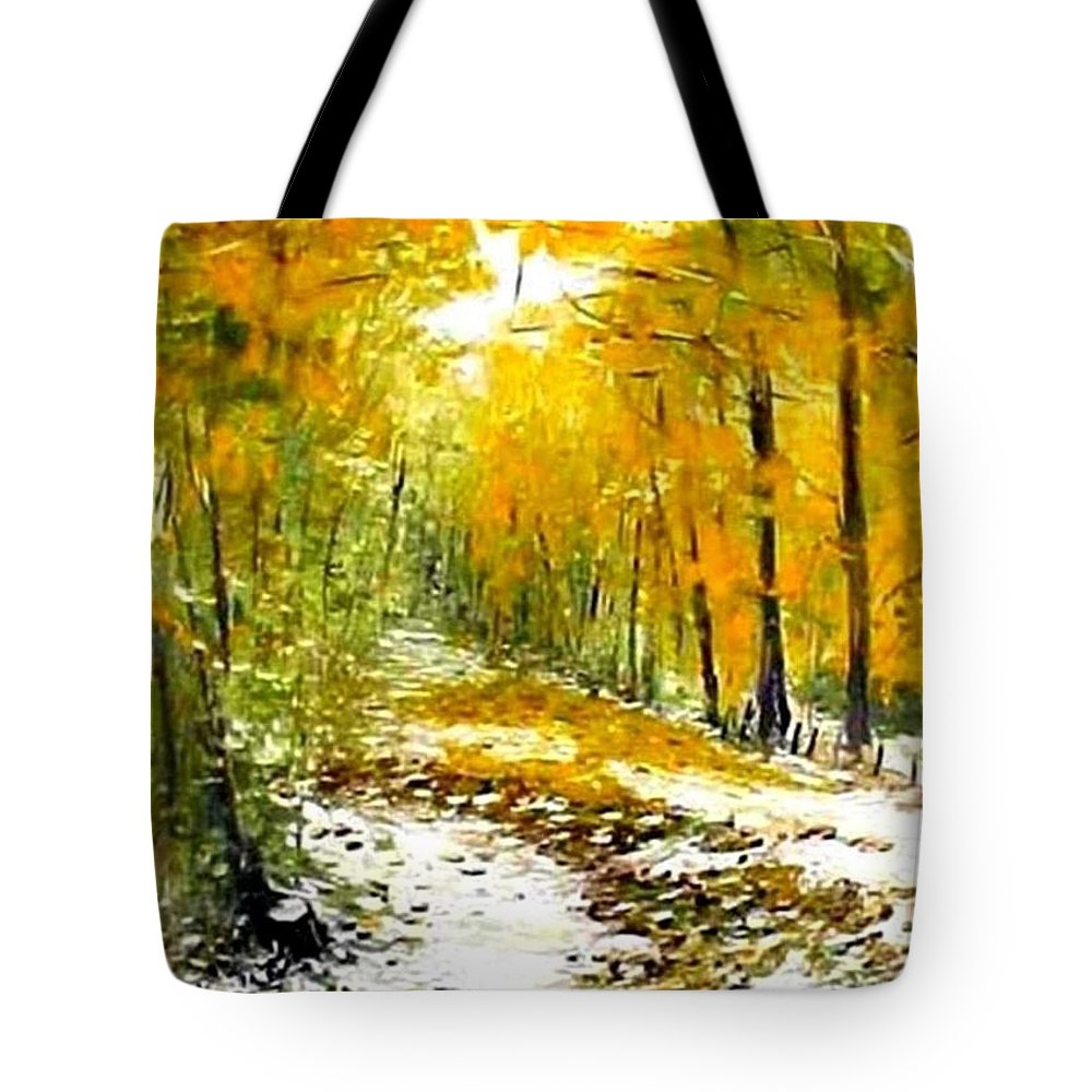 Landscape Tote Bag featuring the painting First Snow by Boris Garibyan