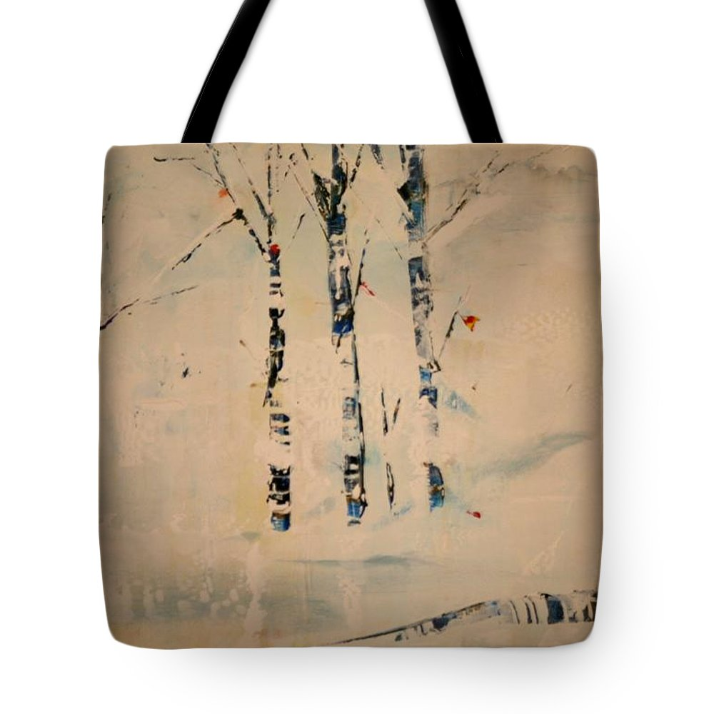 Birch Tote Bag featuring the painting First Snow Central Park by Jack Diamond
