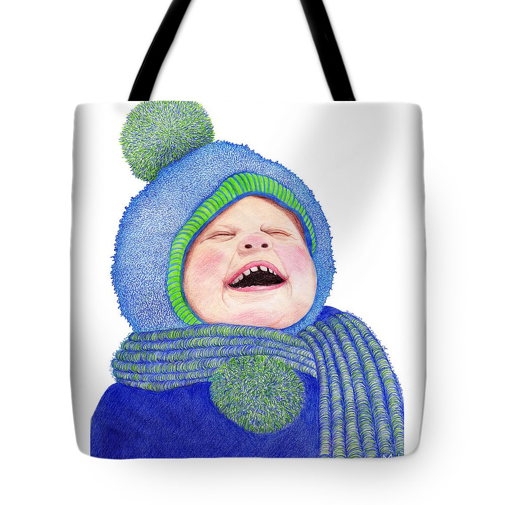 Young Boy Tote Bag featuring the drawing First Snow by Marilyn Hilliard