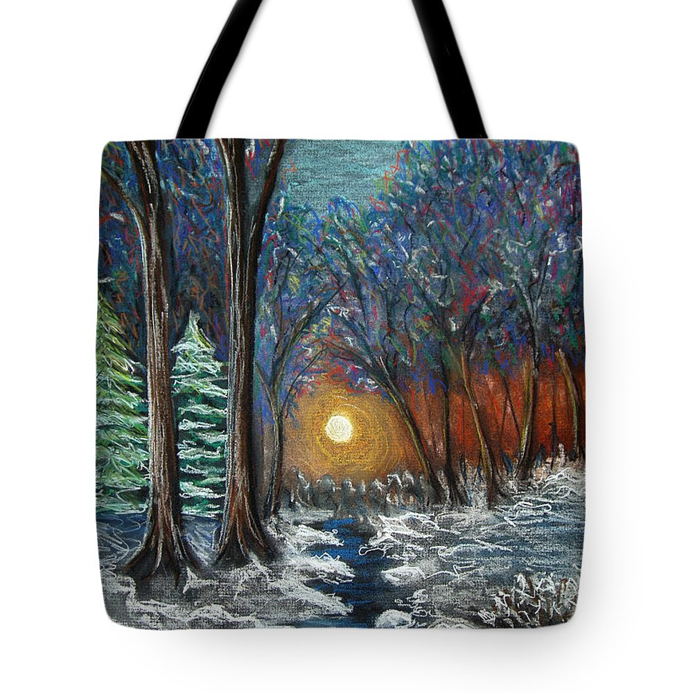 Snow Tote Bag featuring the pastel First Snow by Nancy Mueller