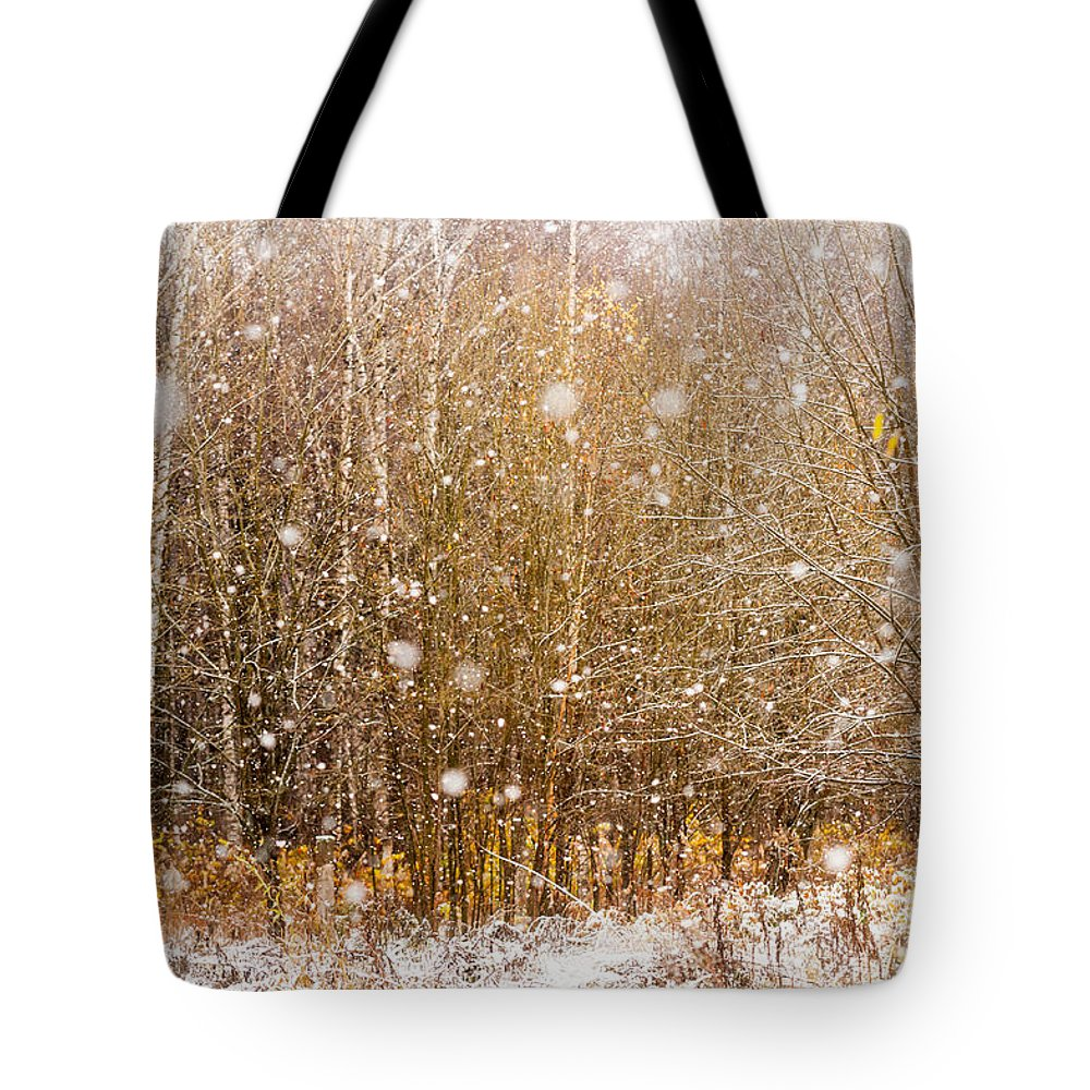 Jenny Rainbow Fine Art Photography Tote Bag featuring the photograph First Snow. Snow Flakes I by Jenny Rainbow