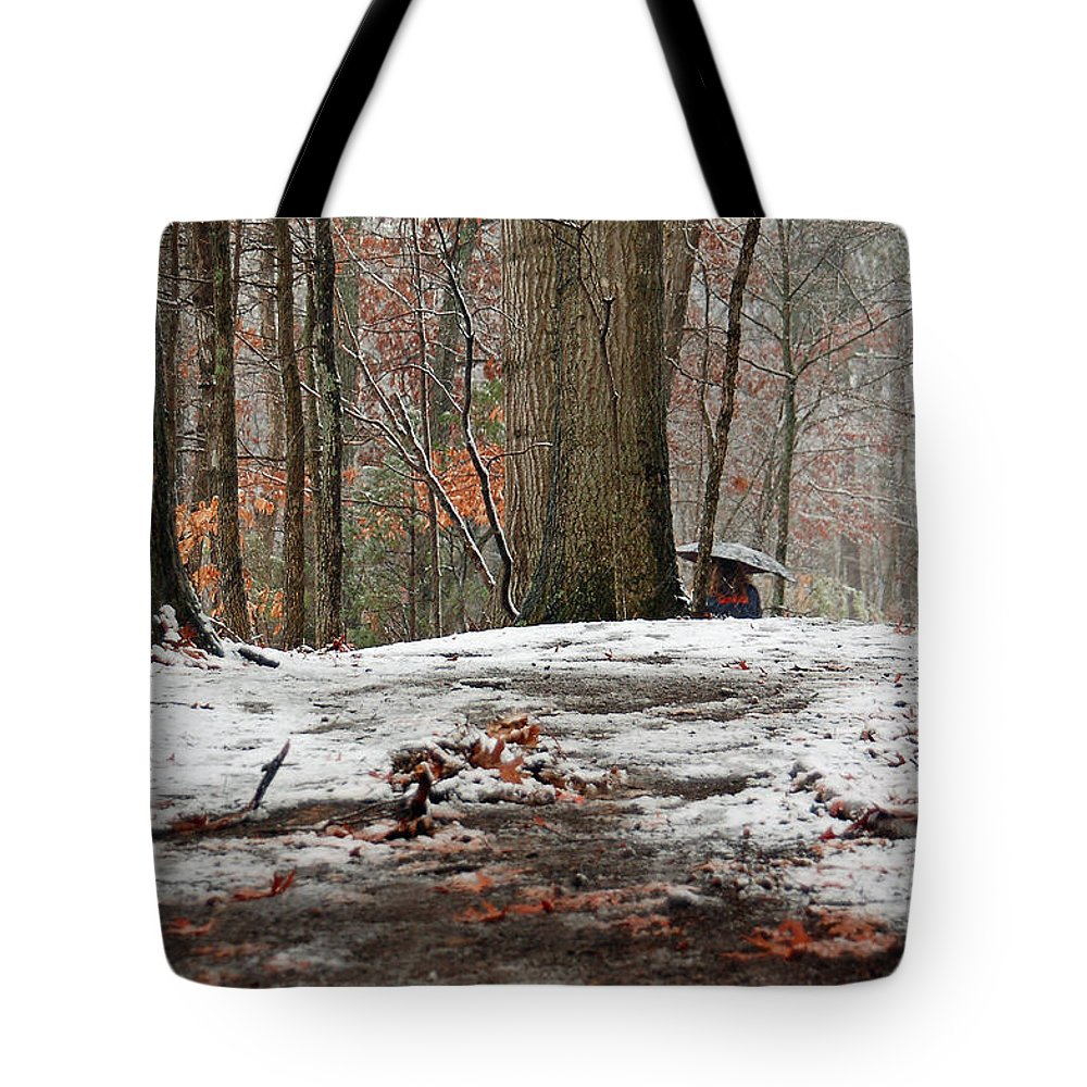 Walk In The Woods Tote Bag featuring the photograph First Snowfall - A Walk In The Woods by Suzanne Gaff
