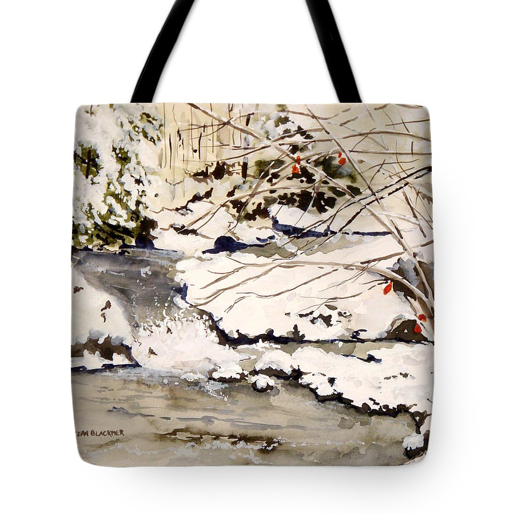 Winter Scene Tote Bag featuring the painting First Snowfall by Jean Blackmer