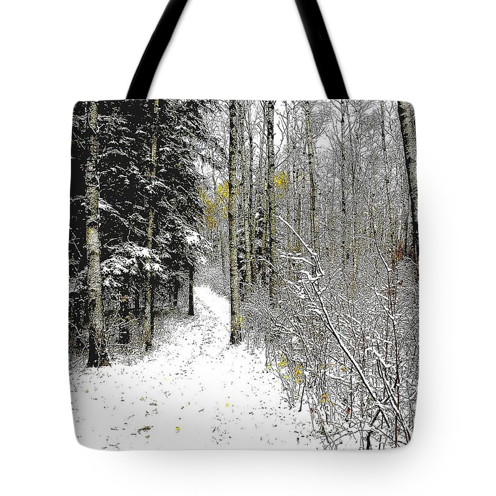Winter Tote Bag featuring the photograph First Snowfall by Nelson Strong