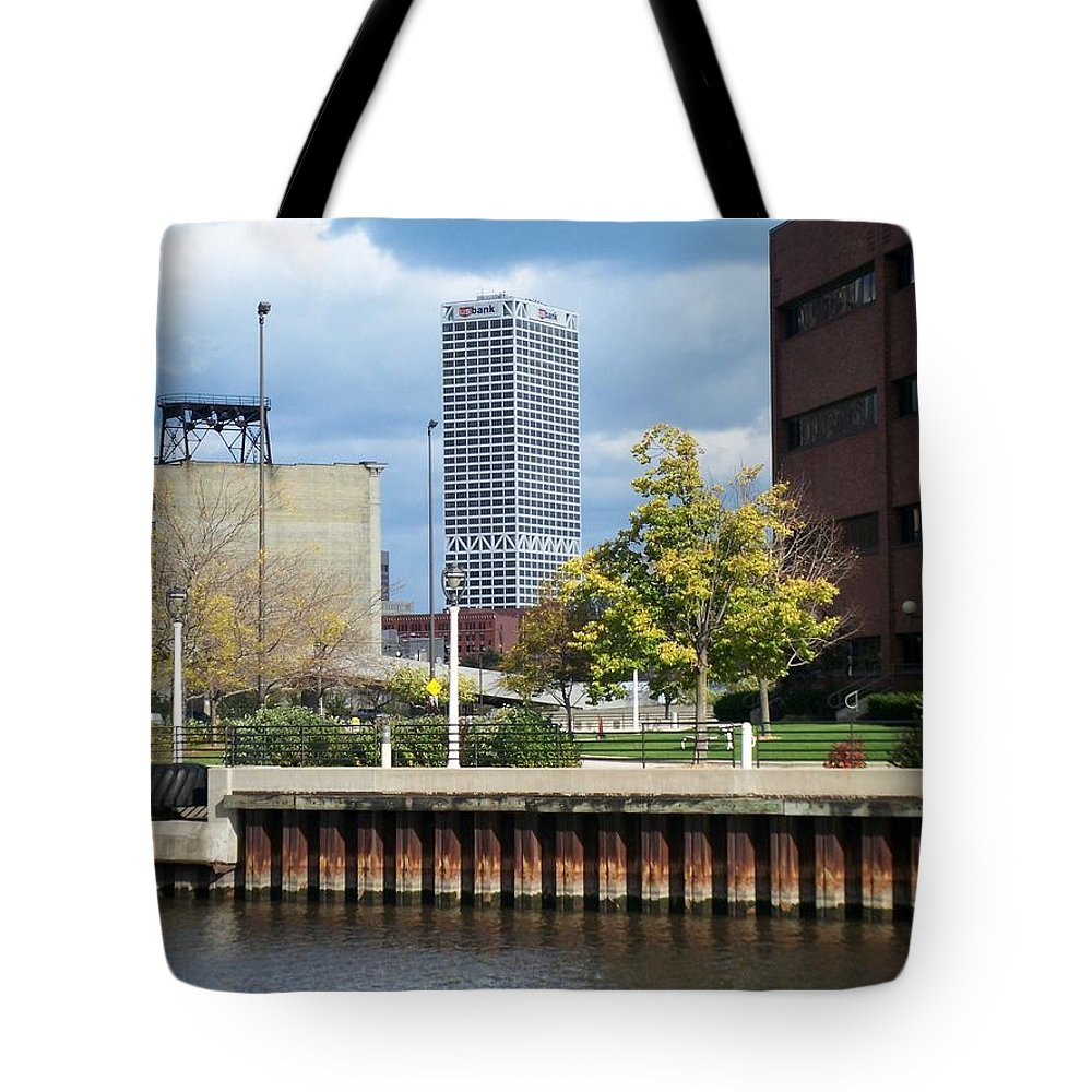 First Star Bank Tote Bag featuring the photograph First Star Tall View From River by Anita Burgermeister