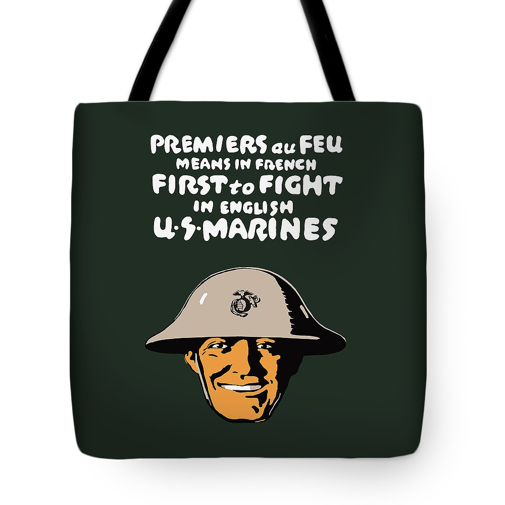 Marine Corps Tote Bag featuring the painting First To Fight - Us Marines by War Is Hell Store