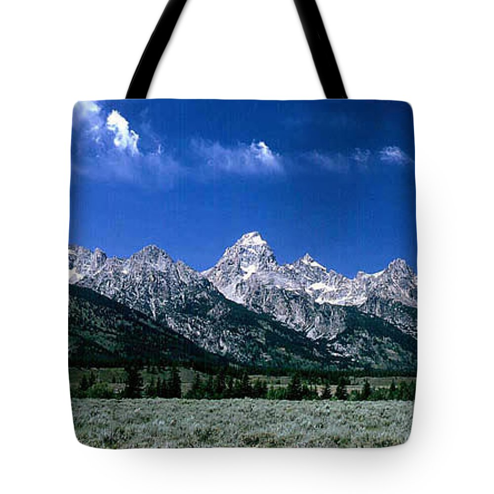 Mountains Tote Bag featuring the photograph First View Of Tetons by Kathy McClure