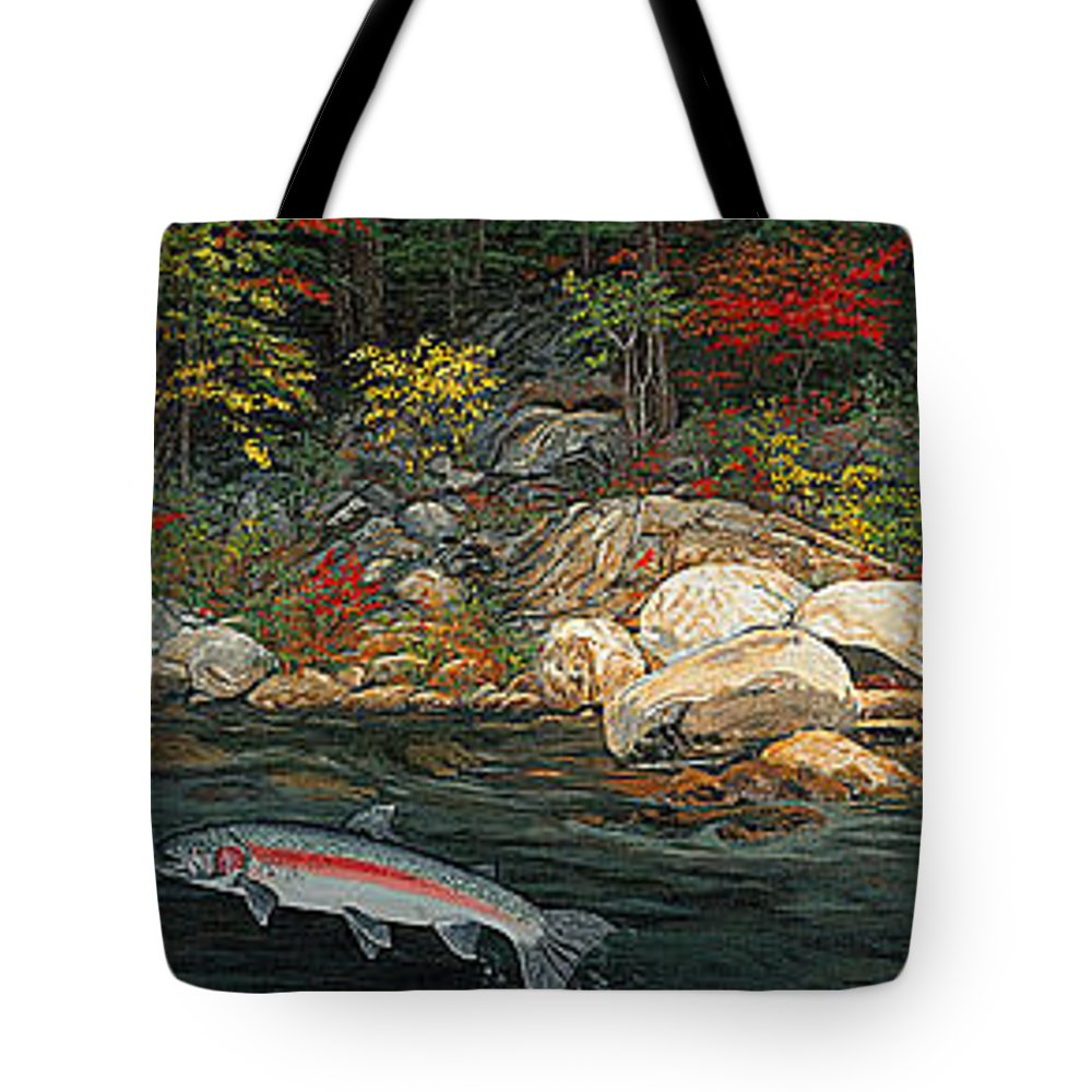Art Tote Bag featuring the painting Fish Art Jumping Silver Steelhead Trout Art Nature Artwork Giclee Wildlife Underwater Wall Art Work by Baslee Troutman