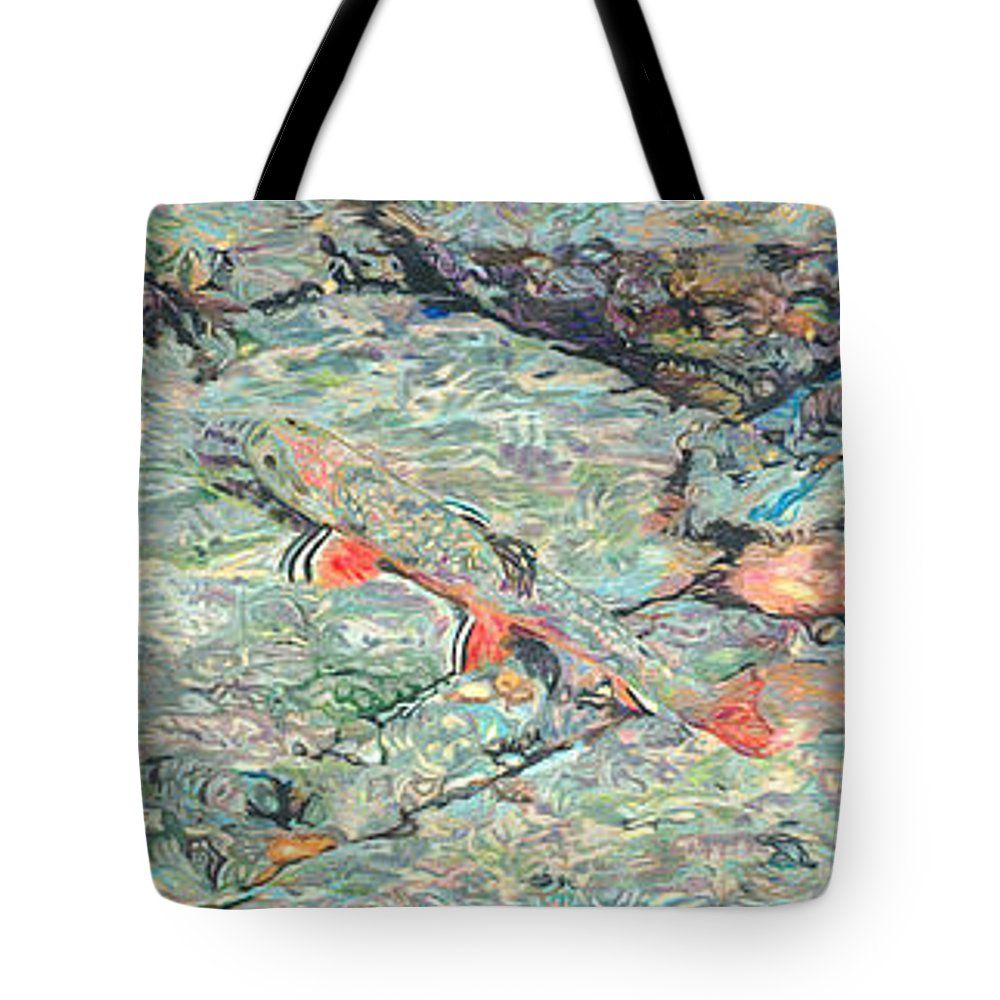 Art Tote Bag featuring the drawing Fish Art Trout Art Brook Trout Brookie Artwork Nature Underwater Wildlife Creek Art River Art Lake by Baslee Troutman