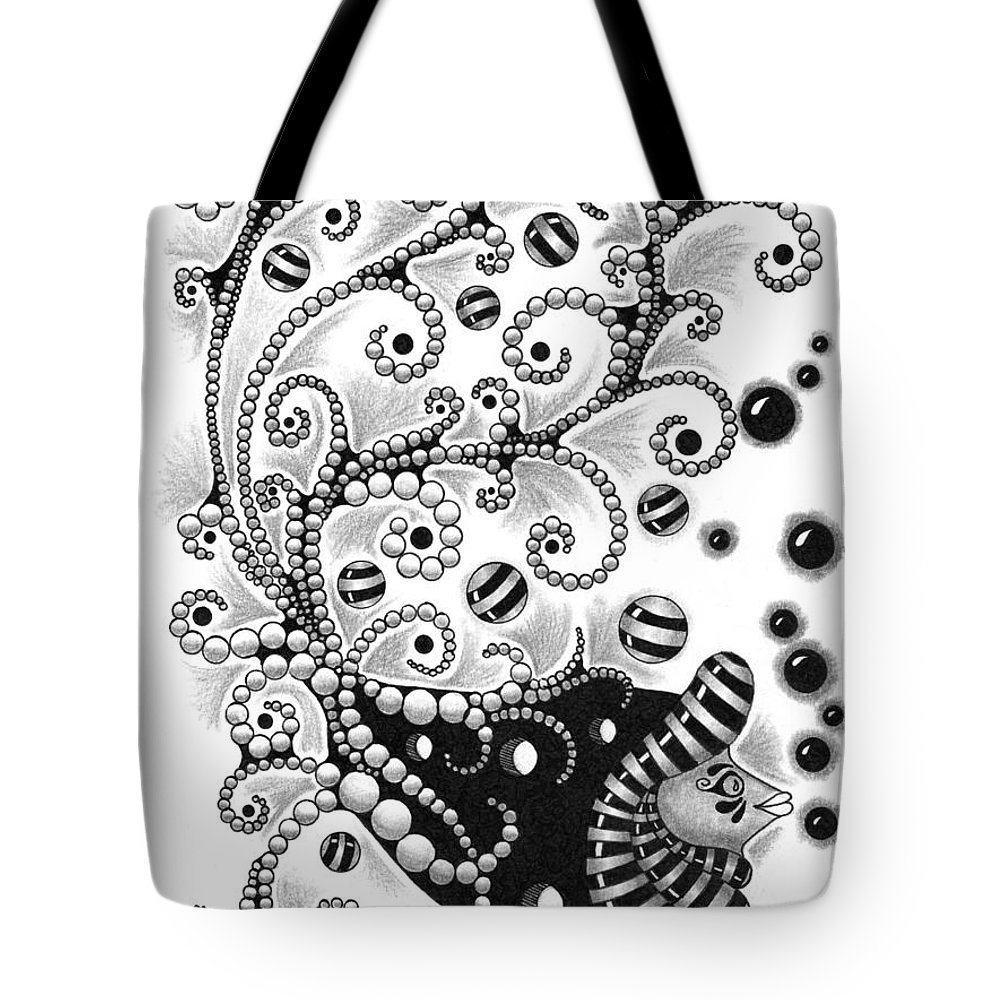 Drawing Tote Bag featuring the drawing Fish Bubbles by Cathy Nestroyl