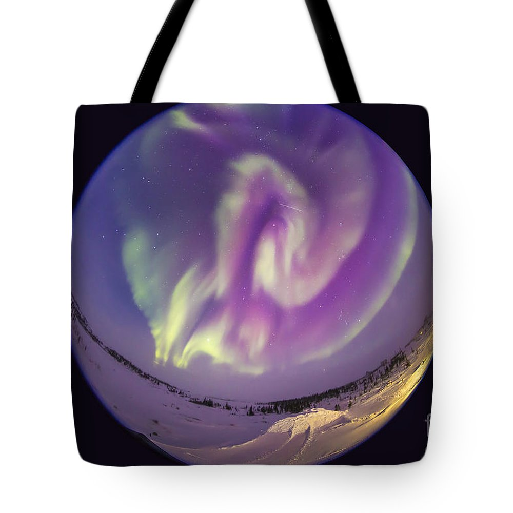 Aurora Tote Bag featuring the photograph Fish-eye Lens View Of An Aurora by Alan Dyer