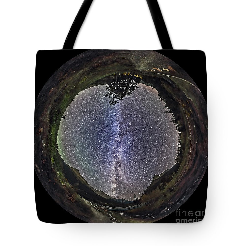 Alberta Tote Bag featuring the photograph Fish-eye Panorama Of Milky Way Over Red by Alan Dyer