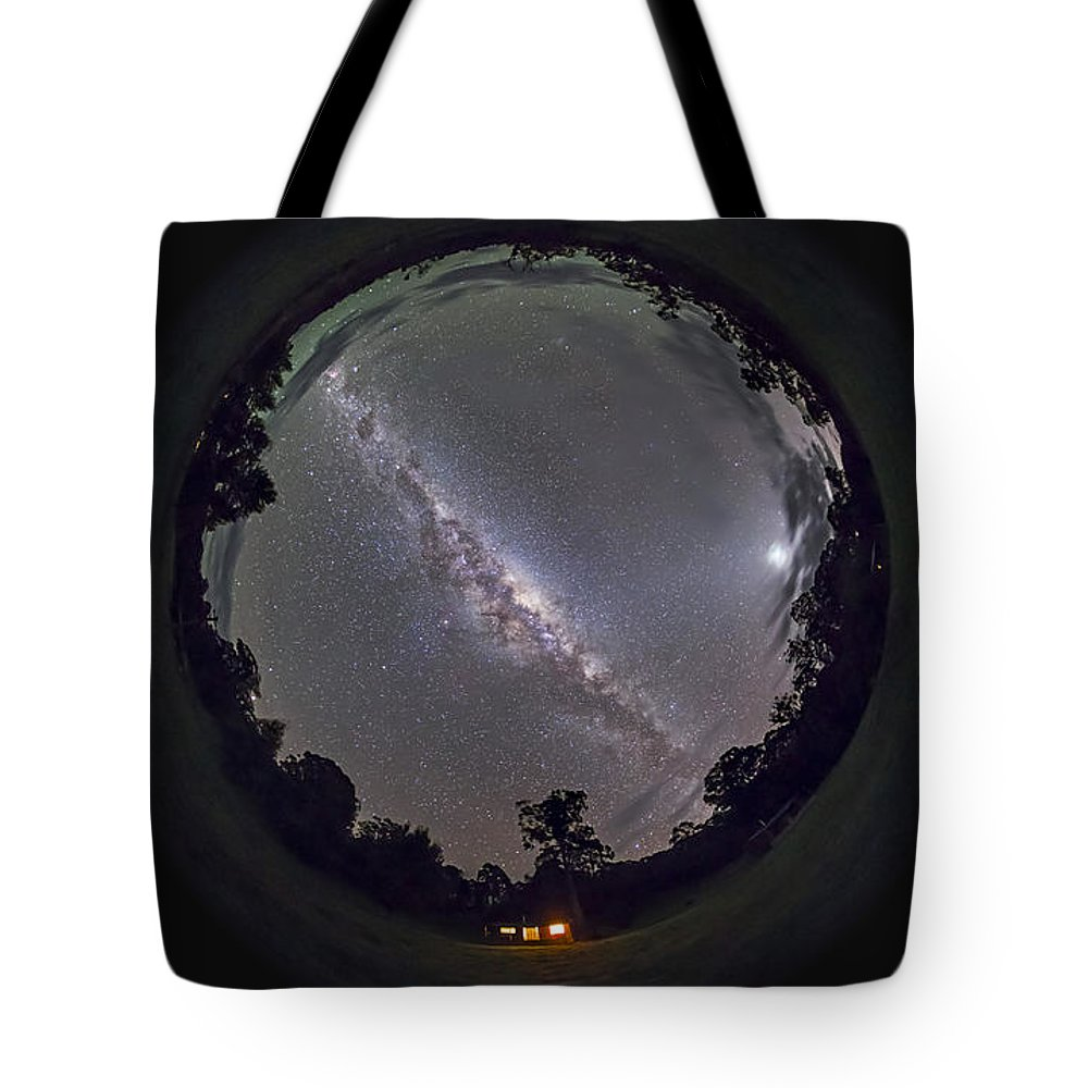 Australia Tote Bag featuring the photograph Fish-eye Panorama Of The Southern Night by Alan Dyer