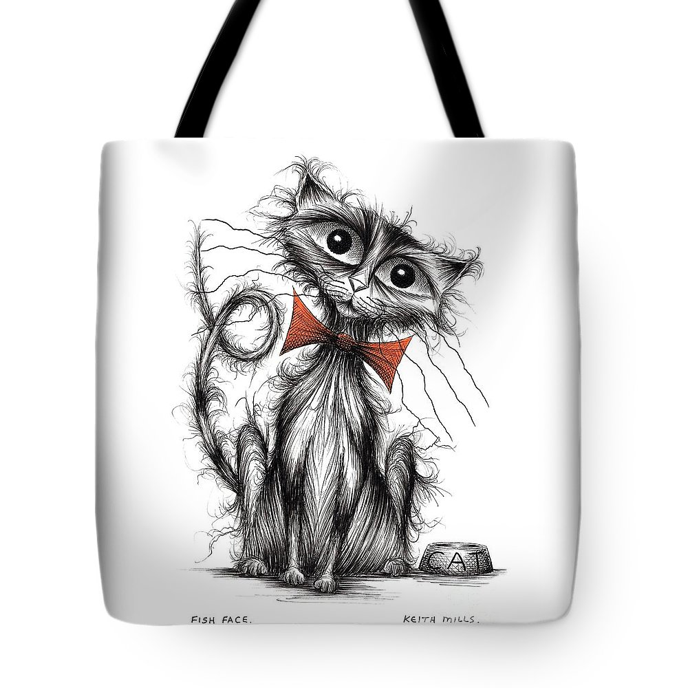 Fish Face Tote Bag featuring the drawing Fish Face by Keith Mills
