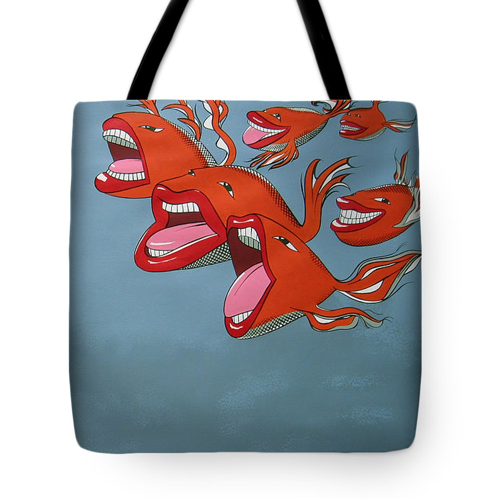 Seascape Tote Bag featuring the painting Fish Fight by Patricia Van Lubeck