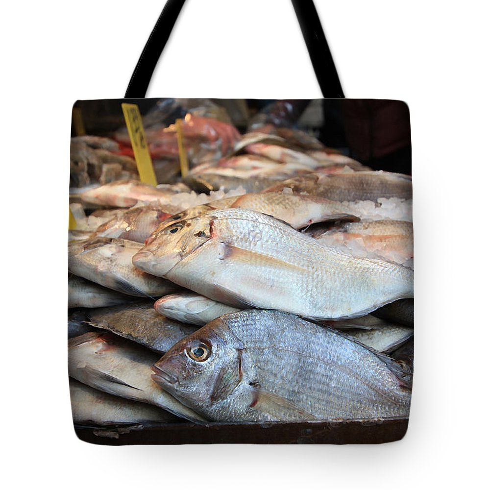Fish Tote Bag featuring the photograph Fish For Sale by Mary Haber