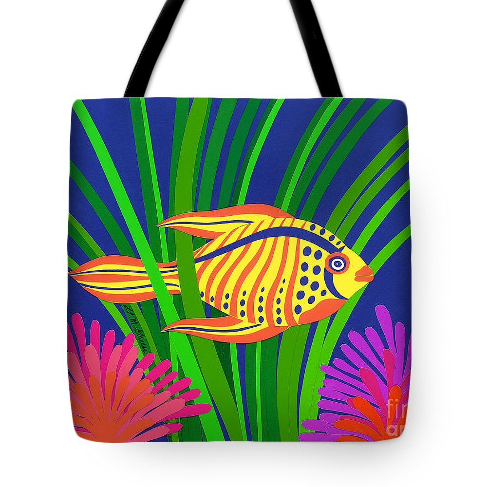 Nature Tote Bag featuring the drawing Fish by Lucyna A M Green