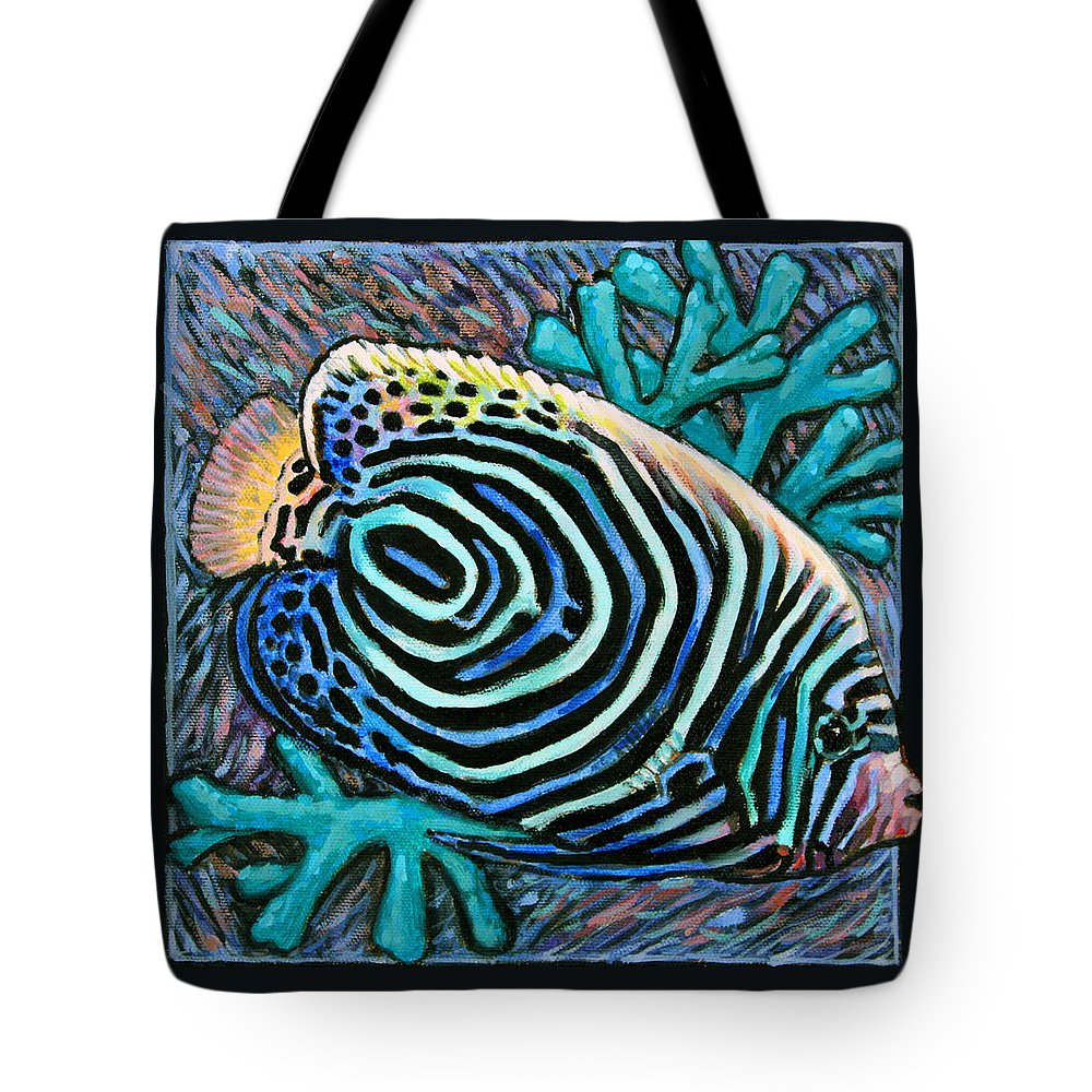 Ocean Fish Tote Bag featuring the painting Fish Number Nine by John Lautermilch