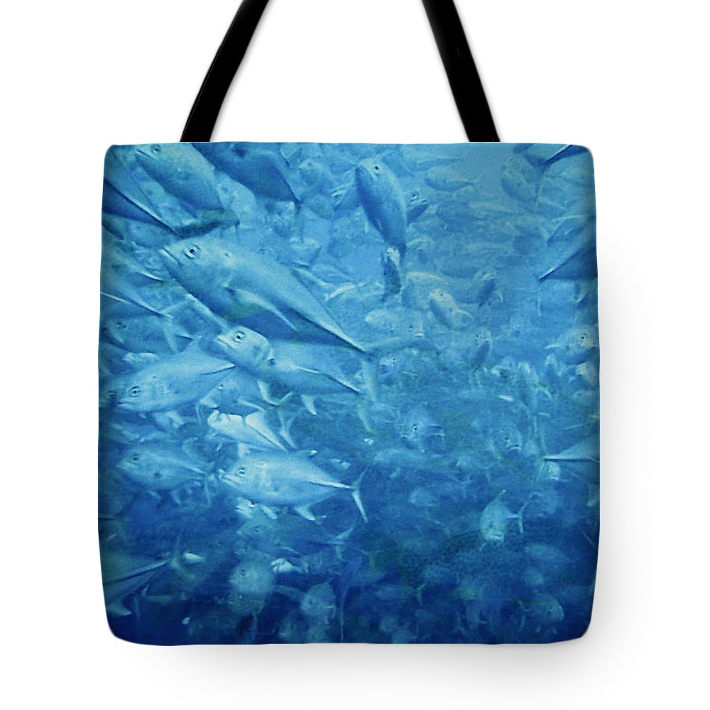 Fish Tote Bag featuring the photograph Fish Schooling Harmonious Patterns Throughout The Sea by Christine Till
