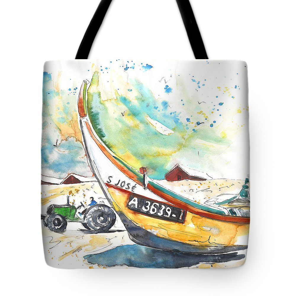 Portugal Tote Bag featuring the painting Fisherboat In Praia De Mira by Miki De Goodaboom