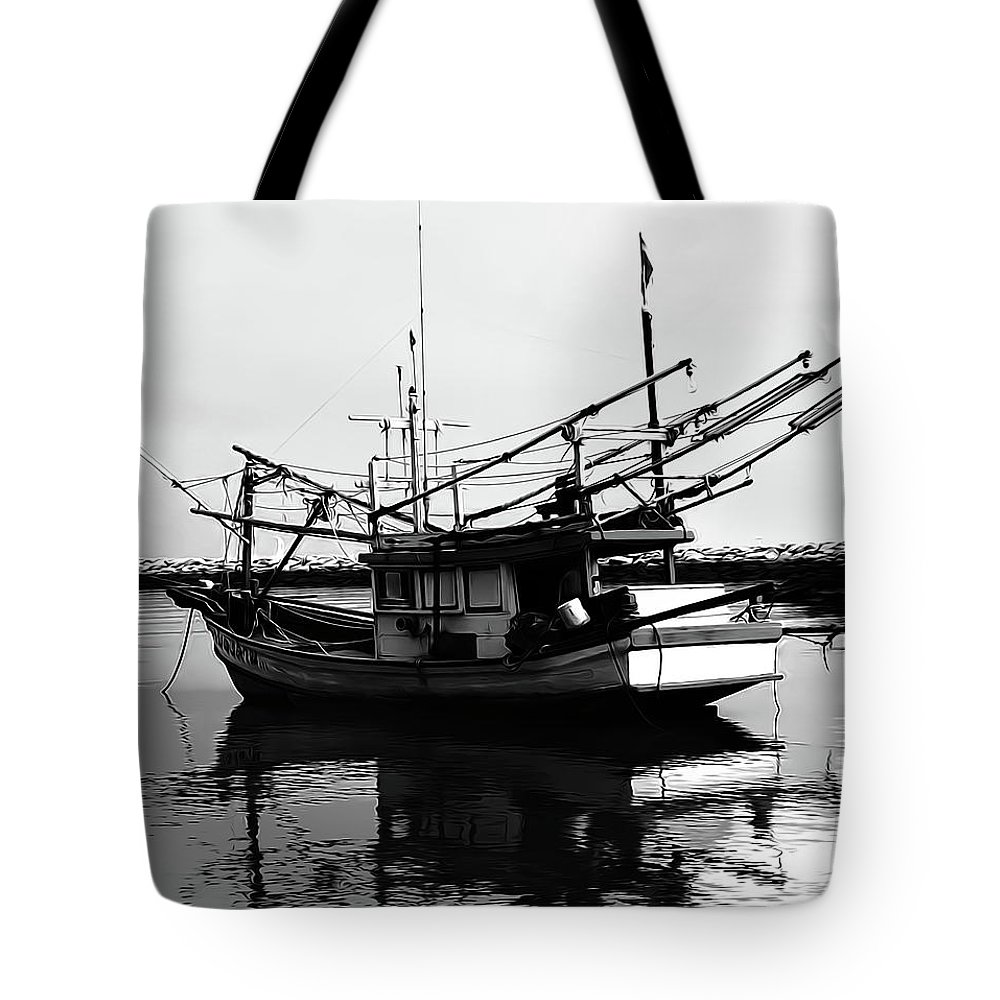 Boat Tote Bag featuring the digital art Fisherman's Boat by Andrea Dalla Bona