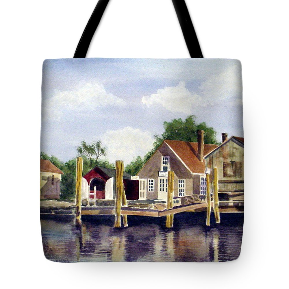River Tote Bag featuring the painting Fisherman's Wharf by Marsha Elliott