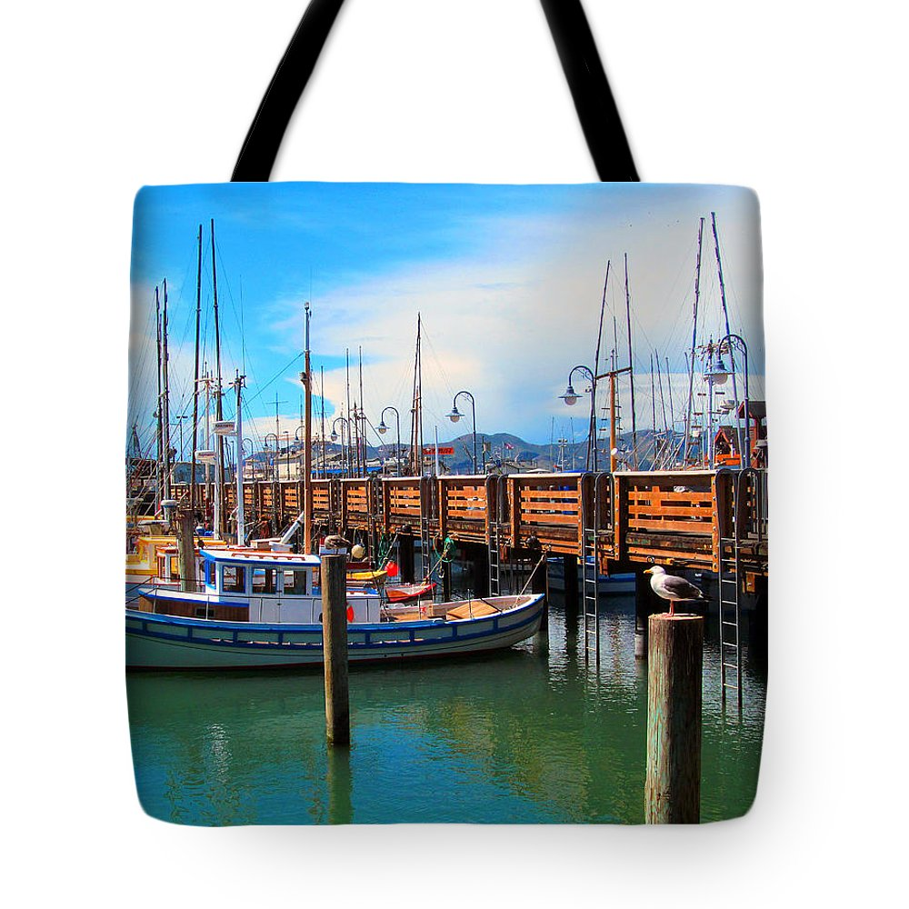 San Francisco Tote Bag featuring the photograph Fishermans Wharf by Tina M Wenger