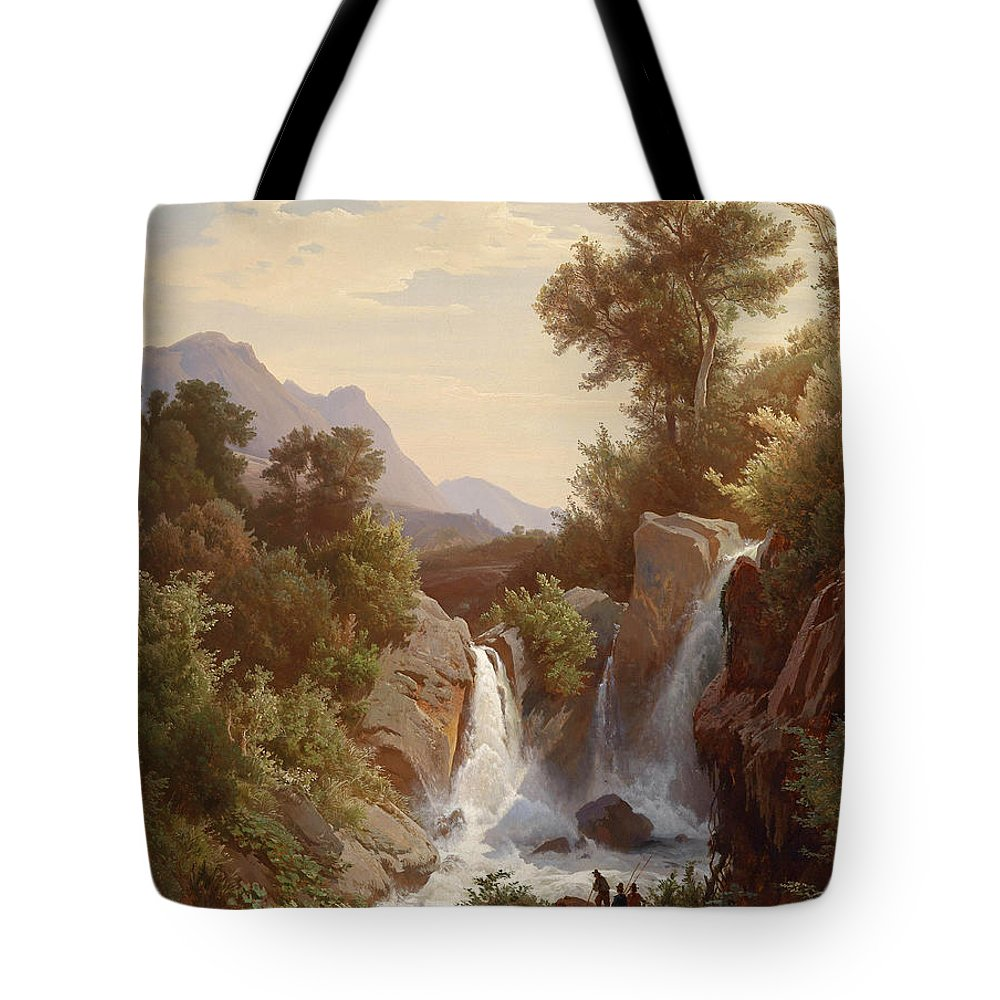 August Friedrich Kessler Tote Bag featuring the painting Fishermen By The Waterfall by August Friedrich Kessler
