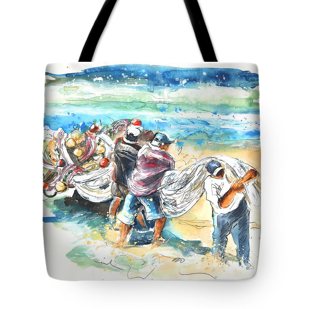 Portugal Tote Bag featuring the painting Fishermen In Praia De Mira by Miki De Goodaboom
