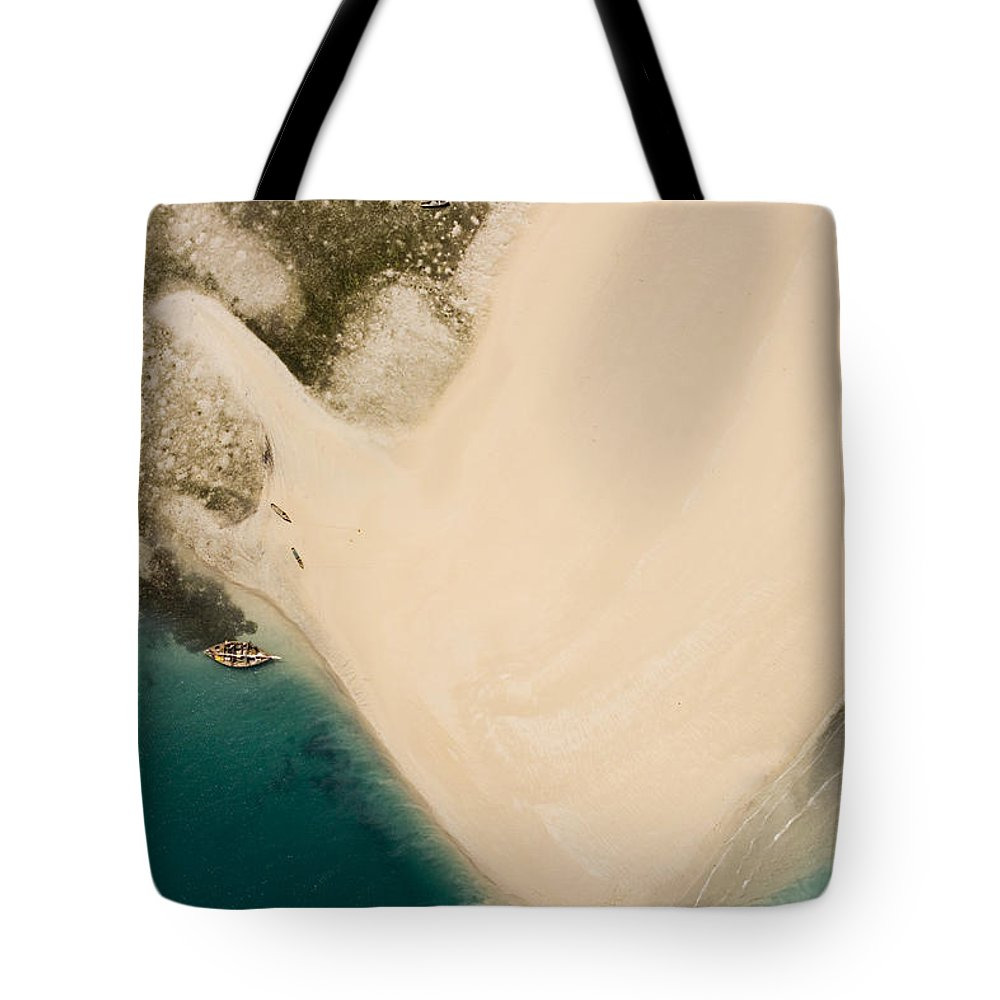 Mozambique Tote Bag featuring the photograph Fishermen On A Sand Bank On An Island by Michael Fay