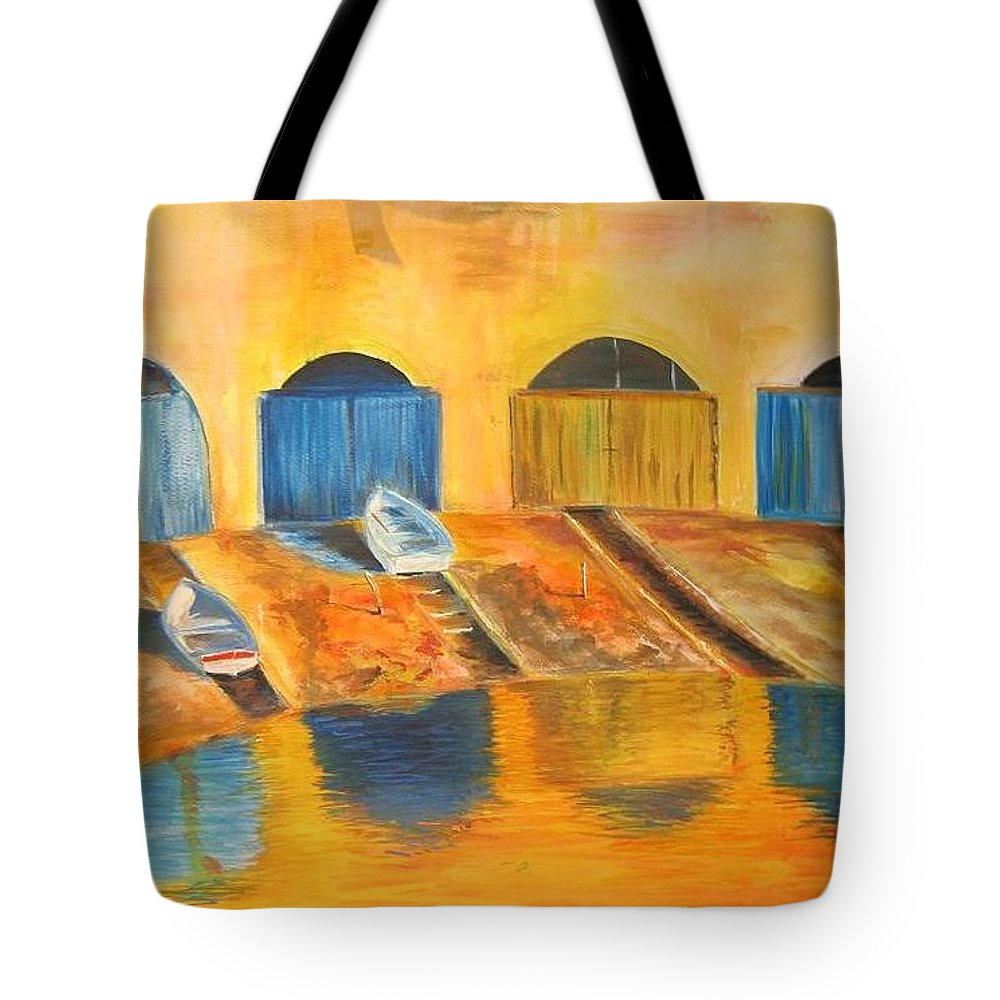 Boats Tote Bag featuring the painting Fishermens boats at sundown by Lizzy Forrester