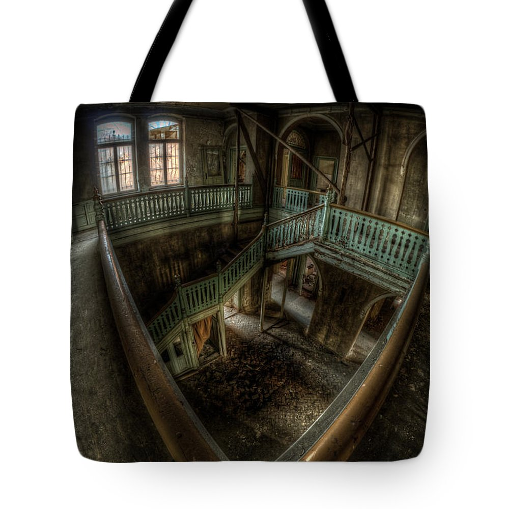Beautiful Tote Bag featuring the digital art Fisheye From Above by Nathan Wright