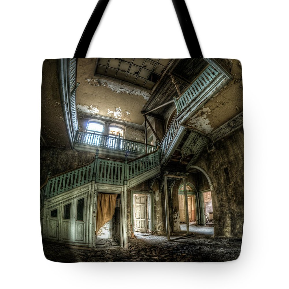 Beautiful Tote Bag featuring the digital art Fisheye From Below by Nathan Wright