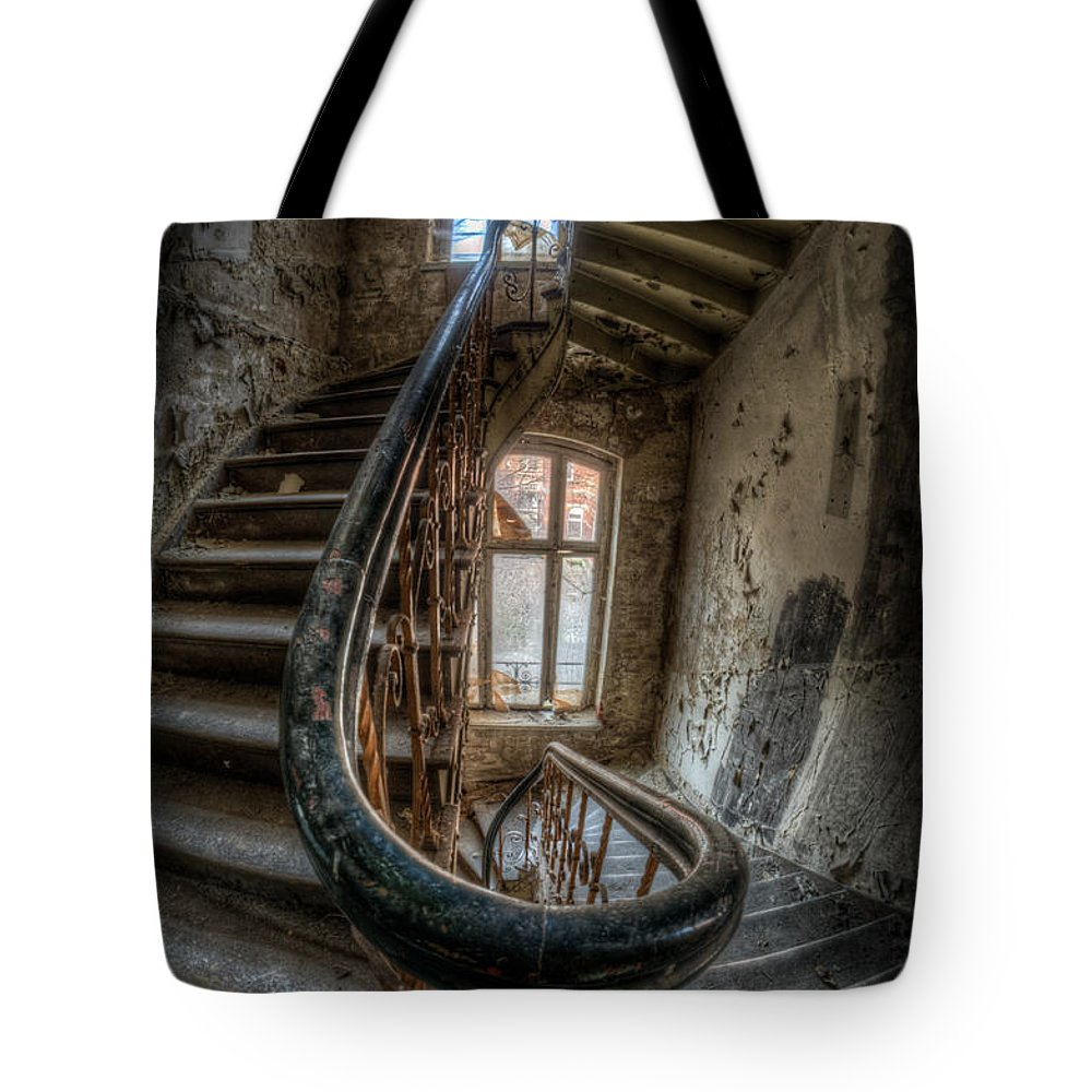 Beautiful Tote Bag featuring the digital art Fisheye Stairs by Nathan Wright