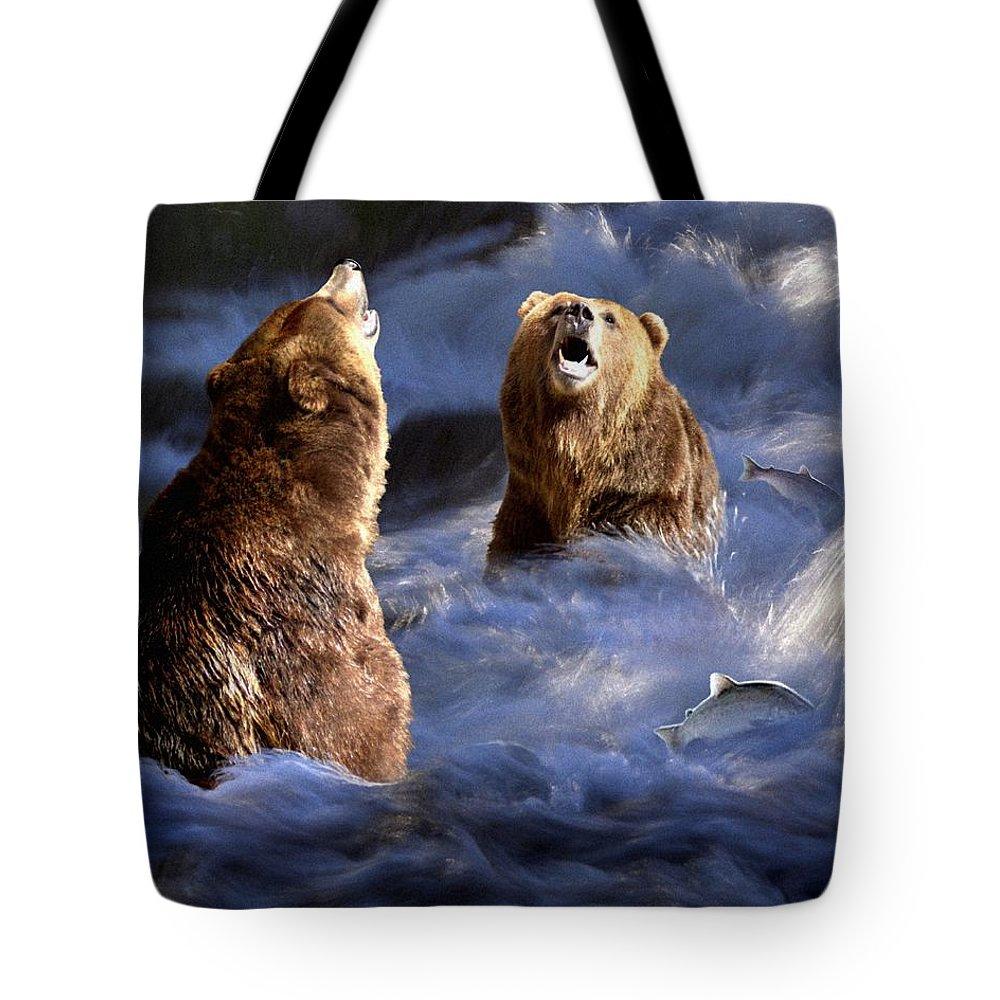 Bear Tote Bag featuring the digital art Fishing Alaska by Bill Stephens