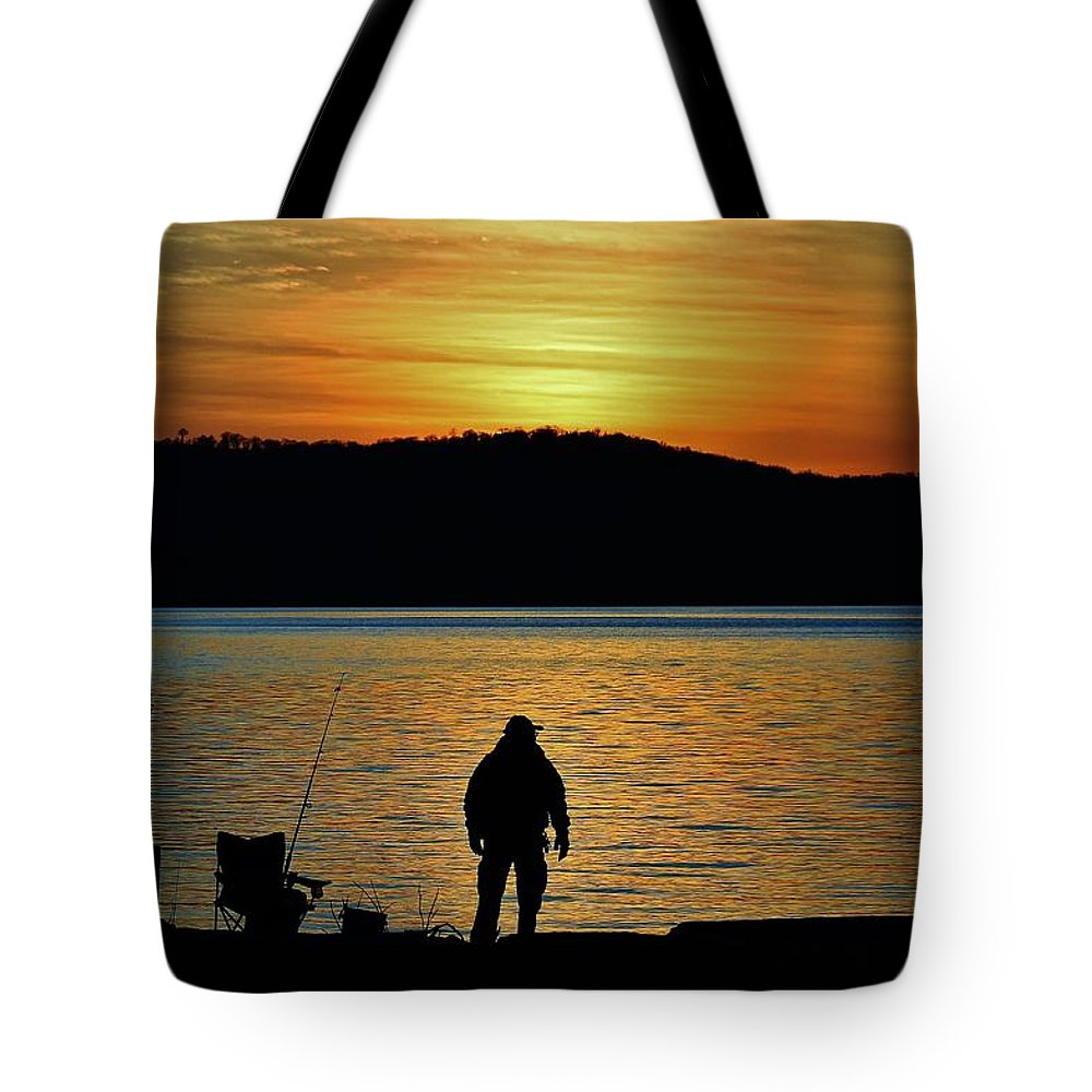 Hudson Valley Landscapes Tote Bag featuring the photograph Fishing Along The Hudson by Thomas McGuire