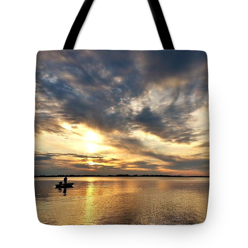 Sunset Tote Bag featuring the photograph Fishing At Sunset by Mandy Frank