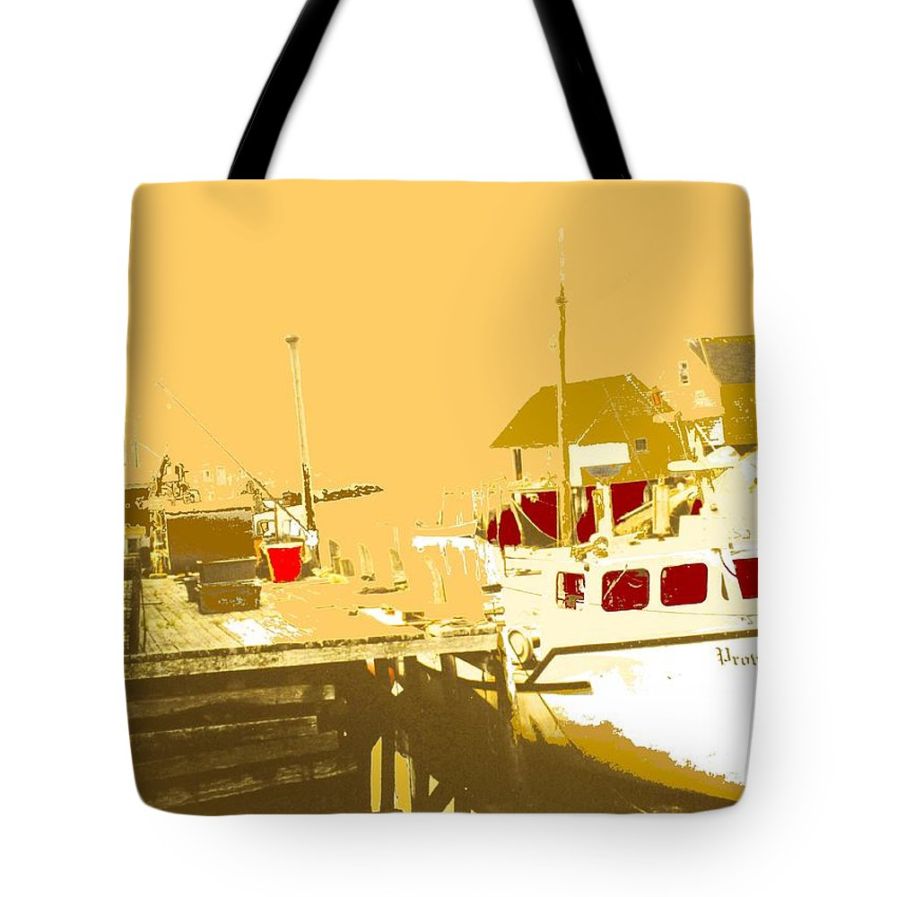 Red Tote Bag featuring the photograph Fishing Boat At The Dock by Ian MacDonald