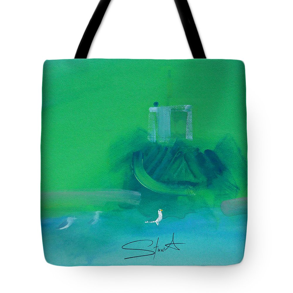 Fishing Boat Tote Bag featuring the painting Fishing Boat With Seagulls by Charles Stuart