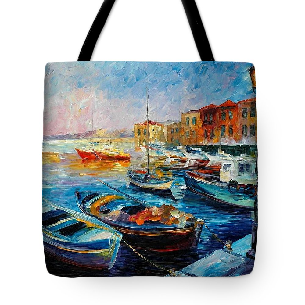 Afremov Tote Bag featuring the painting Fishing Boats by Leonid Afremov