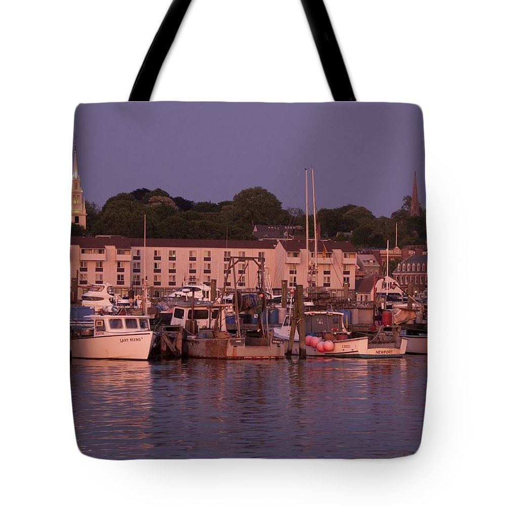 Sunset. Newport Tote Bag featuring the photograph Fishing Boats by Steven Natanson