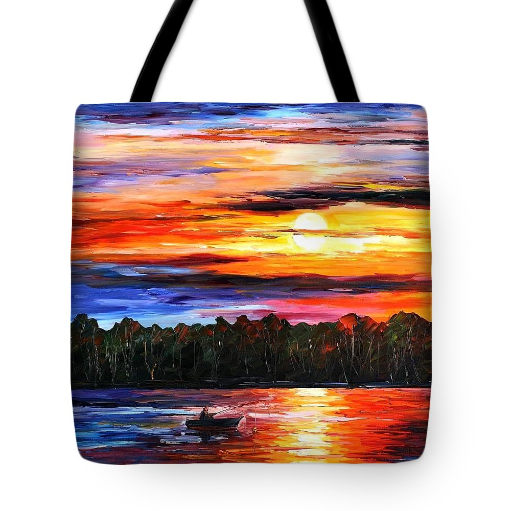 Seascape Tote Bag featuring the painting Fishing By The Sunset by Leonid Afremov